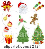 Collection Of Xmas Icons Of Bells Ornaments Santa Candy Holly Gingerbread Christmas Trees And Presents
