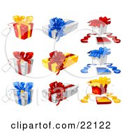 Collection Of Xmas Presents Gift Wrapped In Red Yellow Blue And White Bows And Paper
