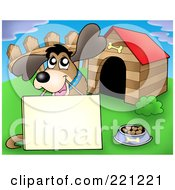 Royalty Free RF Clipart Illustration Of A Happy Dog With A Blank Sign By A Dog House