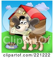 Royalty Free RF Clipart Illustration Of A Happy Dog With A Newspaper In His Mouth By A Dog House