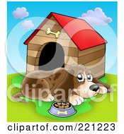 Royalty Free RF Clipart Illustration Of A Sad Dog With A Bowl Of Food By A Dog House 1
