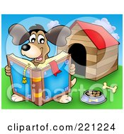 Royalty Free RF Clipart Illustration Of A Happy Dog Reading A Book By A Dog House
