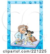Royalty Free RF Clipart Illustration Of A Frame Of A Male Vet And A Dog With Paw Prints Around White Space 3 by visekart