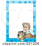 Royalty Free RF Clipart Illustration Of A Frame Of A Male Vet And A Dog With Paw Prints Around White Space 2 by visekart