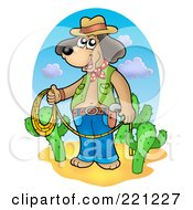 Royalty Free RF Clipart Illustration Of A Cowboy Dog Standing With A Lasso By Cacti by visekart