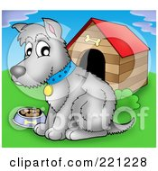 Royalty Free RF Clipart Illustration Of A Gray Dog With A Bowl Of Food By A Dog House