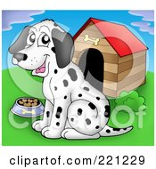 Royalty Free RF Clipart Illustration Of A Dalmatian Dog With A Bowl Of Food By A Dog House