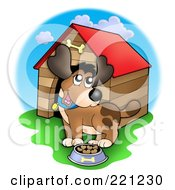 Royalty Free RF Clipart Illustration Of A Happy Dog With A Bowl Of Food By A Dog House by visekart
