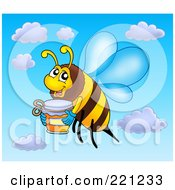 Royalty Free RF Clipart Illustration Of A Flying Bee With A Jar Of Honey by visekart