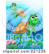 Royalty Free RF Clipart Illustration Of Two Cute Sea Turtles Swimming Over A Reef by visekart