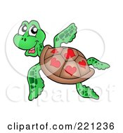 Royalty Free RF Clipart Illustration Of A Cute Sea Turtle With Hearts On His Shell by visekart