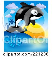 Royalty Free RF Clipart Illustration Of A Cute Orca Whale Jumping At Sunset by visekart