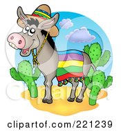 Royalty Free RF Clipart Illustration Of A Mexican Donkey By Cactus Plants by visekart