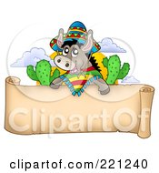 Royalty Free RF Clipart Illustration Of A Mexican Donkey Over A Blank Parchment Banner by visekart
