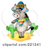 Royalty Free RF Clipart Illustration Of A Mexican Donkey Standing By Cactus Plants by visekart