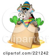Royalty Free RF Clipart Illustration Of A Mexican Donkey Behind A Blank Sidewalk Sign by visekart