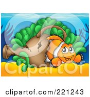 Royalty Free RF Clipart Illustration Of A Clownfish In A Sunken Vase On A Reef by visekart