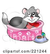 Royalty Free RF Clipart Illustration Of A Tuxedo Cat In A Cat Bed by visekart