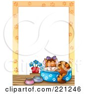 Royalty Free RF Clipart Illustration Of A Spoiled Sleeping Cat Border Around White Space
