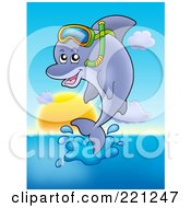 Royalty Free RF Clipart Illustration Of A Cute Dolphin Jumping And Wearing Snorkel Gear by visekart