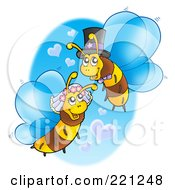 Royalty Free RF Clipart Illustration Of A Wedding Bee Couple With Heart Clouds by visekart