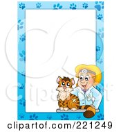 Royalty Free RF Clipart Illustration Of A Cat And Female Veterinarian Border Around White Space