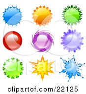 Clipart Illustration Of A Collection Of 9 Blue Orange Green Red And Purple Stars Spinners And Bursts