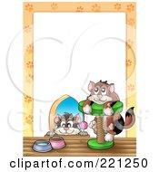 Royalty Free RF Clipart Illustration Of A Cat Hole And Tree Border Around White Space