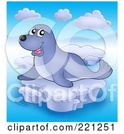 Royalty Free RF Clipart Illustration Of A Happy Cute Seal On Ice 2 by visekart