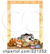 Frame Of A Happy Cat And Dog With Paw Prints Around White Space