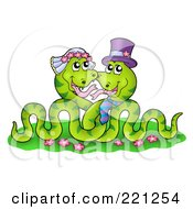 Royalty Free RF Clipart Illustration Of A Green Snake Wedding Couple