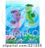 Royalty Free RF Clipart Illustration Of A Pair Of Seahorses Swimming Above A Reef by visekart
