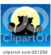 Royalty Free RF Clipart Illustration Of A Silhouetted Cat Couple Against A Full Moon And Starry Sky