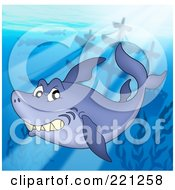 Royalty Free RF Clipart Illustration Of A Shark Swimming In Sunlight Above A Sunken Ship by visekart