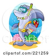 Royalty Free RF Clipart Illustration Of A Happy Scuba Shark With Gear by visekart