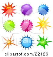 Clipart Illustration Of A Collection Of 9 Bright Stars And Bursts In Red Purple Blue Yellow Pink And Green Colors by Tonis Pan