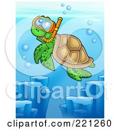 Royalty Free RF Clipart Illustration Of A Cute Sea Turtle Wearing Snorkel Gear by visekart