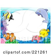Royalty Free RF Clipart Illustration Of A Frame Of Marine Fish A Dolphin Crab And Seahorse Around Oval White Space by visekart