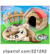 Royalty Free RF Clipart Illustration Of A Sad Dog With A Bowl Of Food By A Dog House 2