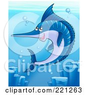 Royalty Free RF Clipart Illustration Of A Swimming Blue Sailfish In The Sea