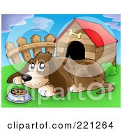 Royalty Free RF Clipart Illustration Of A Sad Dog With A Bowl Of Food By A Dog House 3