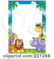 Royalty Free RF Clipart Illustration Of A Border Frame Of A Vulture Lion Rhino And Giraffe Around White Space by visekart