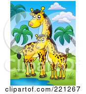 Royalty Free RF Clipart Illustration Of A Mother And Baby Giraffe By A Watering Hole In A Tropical Landscape by visekart