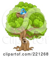 Royalty Free RF Clipart Illustration Of A Blue Bird In A Nest In A Big Tree by visekart