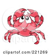 Royalty Free RF Clipart Illustration Of A Cute Crab Holding Up His Claws by visekart