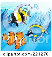 Royalty Free RF Clipart Illustration Of Three Marine Fish By A Reef 1