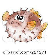 Royalty Free RF Clipart Illustration Of A Grumpy Brown Puffer Fish