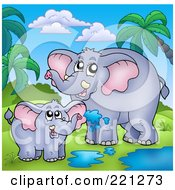Royalty Free RF Clipart Illustration Of A Mother And Baby Elephant Playing In A Puddle In A Tropical Landscape