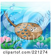Royalty Free RF Clipart Illustration Of A Cute Brown And Blue Spotted Ray Above A Reef by visekart
