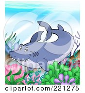 Royalty Free RF Clipart Illustration Of A Sly Shark Swimming Over A Reef